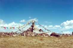 The Tibetan Plateau with its humbling holy stones and prayer flags